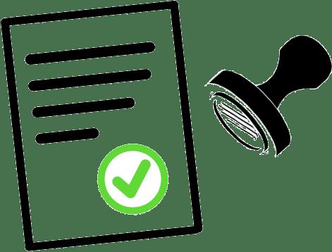 Um carimbo e um pedaço de papel mostram que um documento foi aprovado
