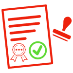 Ícone de documento aprovado, um item vantajoso Docsbase