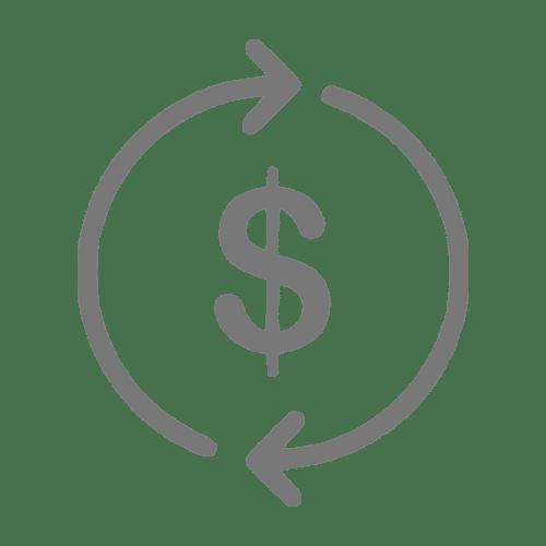 Ícone que simboliza um fluxo de caixa financeiro