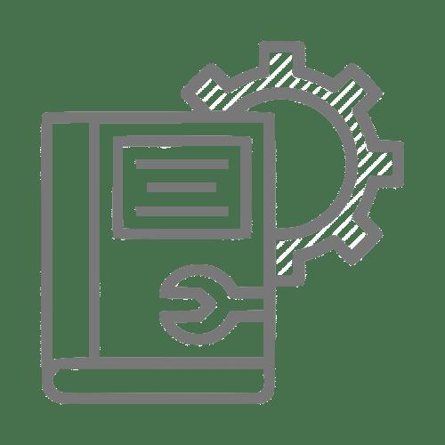 Ícone de tradução de um documento de um manual técnico de operação