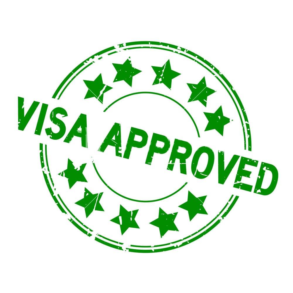 Um carimbo de visto aprovado